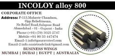 INCOLOY alloy 800 - INCOLOY alloy Manufacturer, Supplier and Exporter in India…