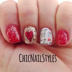 Red Hot Sultry Valentines Day Nails! I love these water transfer nail tattoo's! Click on the picture to get the look! #nails #fingrsheart2art #lovenotesnailtattoo #valentinesdaynails #gelpolish #gelish