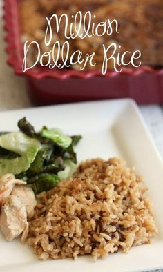 Million Dollar Rice is a delicious side dish to serve with fish, grilled chicken, or roast beef. Your family will not be able to get enough of this buttery rice! It's so easy to make too! #SideDish #SideDishes #Rice #MillionDollarRice #BakedRice #Dinner