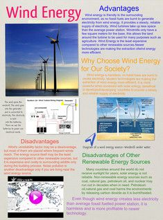 Wind power is the conversion of wind energy into a useful form of energy, such as using wind turbines to produce electrical power, windmills for mechanical power, windpumps for water pumping or drainage, or sails to propel ships. #Glogster #WindEnergy