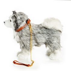 The Queen's Treasures Doll Pet Accessory - Husky Dog with Collar & Leash Disney Princess Carriage, American Girl Doll Pets, Lps Pets, Husky Puppy, Cute Toys, 18 Inch Doll, Doll Accessories, Bedhead, Miniature Crafts