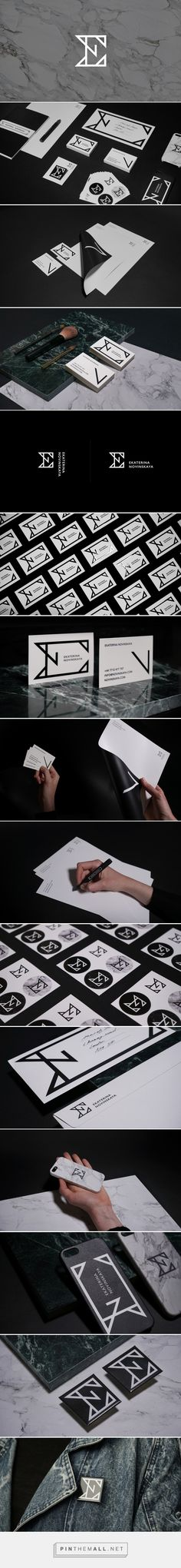 Ekaterina Novinskaya MakeUp Artist & Make Up Brand / Branding / Ideas / Inspiration / Brand Design / Logo Design / Brand Identity / Monogram / Minimalist / Minimal / Black / White / Grey / Initials / Elegant /Modern / Aggressive / Imposing / Powerful / Geometrical /