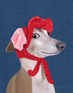 14x11 Italian Greyhound with Red Woolly Hat Digital Illustration Drawing Poster Digital Print Wall Art Wall Décor Wall Hanging dog print