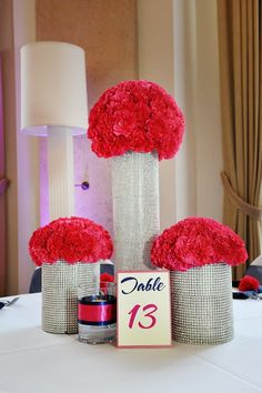 Pink bling centerpieces! Get the wedding flowers directly from the flower growers!!! http://www.bridesign.com/
