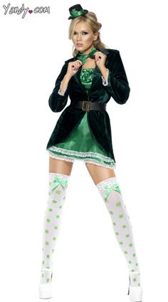 I want this St Patrick's Day Costume - Who needs the luck of the Irish when you look like this? This St. Patrick's day costume comes with the dress, hat, belt, bow-tie and panties.