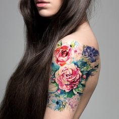 Supperb Large Temporary Tattoos  Watercolor Painting Bouquet