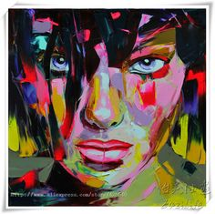 Palette knife painting portrait Palette knife Face Oil painting Impasto figure on canvas Hand painted Francoise Nielly Girl Face