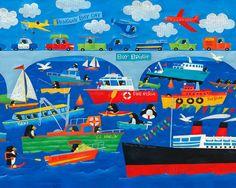 Penguin Bay Day Canvas Art