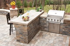 Bar/Grill Island idea- R. Small Outdoor Kitchens, Outdoor Kitchen Grill, Outdoor Grill Area, Outdoor Grill Station, Patio Grill, Backyard Kitchen, Outdoor Kitchen Design, Backyard Bbq, Stone Backyard