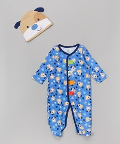 Taggies Blue Puppy Footie & Beanie - Infant | zulily
