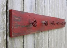 Red barn wood hat rack with 6 rustic red by CreativeFarmGirl, $45.00