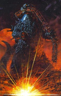 Godzilla Eating a Train by Noriyoshi Ohrai Cool Monsters, Classic Monsters, King Kong, Aliens, The Road Warriors, 70s Sci Fi Art, Creature Feature, Sculpture, Creatures