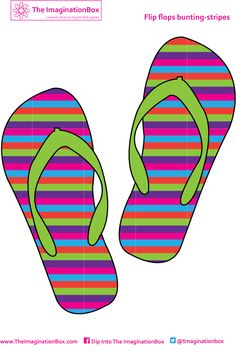 Stripe Flip Flops. Free to download, print and make your own beach hut style summer bunting, great for kid's playrooms