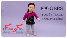 This Knit Joggers Pants for 18' Doll Free Pattern tutorial is the perfect for your child's American Girl Doll. This sewing project makes a great staple for dolly's wardrobe. This tutorial makes a great scrap buster for left over knit fabric and can be used to make several. These cute pants look great with the Pocket tee, also they look cute under the button skirt, and are a great layer for the Doll cardigan. For more free doll patterns be sure to check out the doll and toy patt...