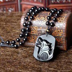 Nouveau chinois naturel obsidienne sculptés à la main Tête Loup Lucky Pendentif Perles Collier