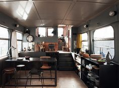 (via French By Design: Houseboat living in Paris) house boat chic Living On A Boat, Tiny Living, Living Spaces, Houseboat Living, Mini Loft, Bus House, Tiny House, Floating House, Deco Design