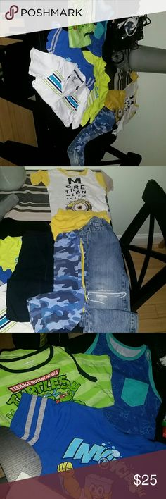 10pce lo*UNDER $25 TIL MIDNIGHT MON ALONG W OVER t One pair of distressed children place jeans. Cut at knee and torn at bottom on purpose. Blue camo batman sweats w/yellow stripe on outside of each leg. So cute. Black carter sweats. Koala bright yellow surf short sleeve. 2 piece minions pj short set. Ninja Turtle and Dino sleeveless toos. Short sleeve white w stripes only one in just great shape not exc. Sponge bubble shirt is only one that's a 4t but same size seems as others. .shipping…