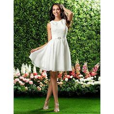 [ $77.39 ]A-line Jewel-neck Short Chiffon and Lace Bridesmaid Dress