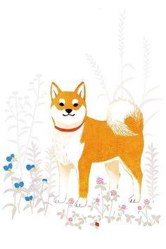 """柴犬 """"Shiba"""" © shino All rights reserved. Shiba Inu Doge, Dog Wallpaper, Seagrass Wallpaper, Paintable Wallpaper, Fabric Wallpaper, Image Citation, Japanese Dogs, Dog Illustration, Illustrations"""