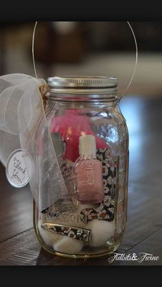 Secret Santa mason jar idea. You can get all the supplies at the dollar store and save time.