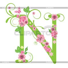 Decorative letter N with roses   Stock Vector Graphics   CLIPARTO