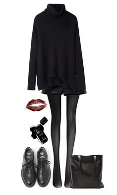 """Untitled #99"" by vilaya ❤ liked on Polyvore featuring Wolford, H&M, Helmut Lang, Dr. Martens and Chanel"