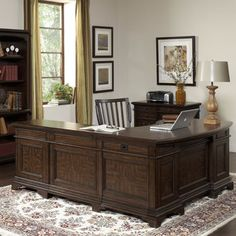 Andover Executive Desk with Return, File Cabinet and Chair