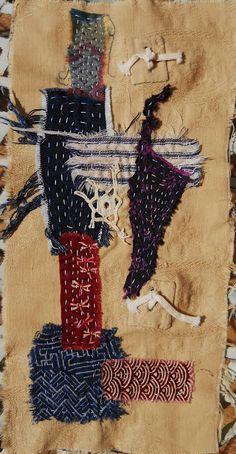 Japanese inspired Boro by Averil Stuart-Head, boro stitching japanese mending Patchwork, Japanese Quilts, Japanese Textiles, Japanese Fabric, Boro Stitching, Fabric Strips, Fabric Journals, Textiles Techniques, Weaving Textiles