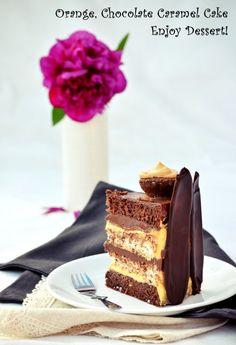 Chocolate Caramel Cake, Chocolate Orange, Homemade Chocolate, Chocolate Cakes, Orange Caramel, Sweets Recipes, Something Sweet, Ethnic Recipes, Nutella