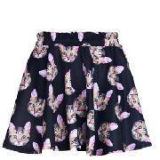 Sweet Cat Heads Printed Black Pleated Skirt for Women - $11.04
