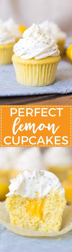 Cheerful lemon cupcakes filled with silky smooth lemon curd and finished off with a sweet layer of cream cheese poppy seed frosting - perfect for a sunny sweet treat!