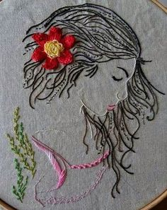 Embroidery Flowers Pattern, Embroidery Hoop Art, Hand Embroidery Designs, Flower Patterns, Embroidery Stitches, Cross Stitch Tutorial, Fabric Pictures, Thread Painting, Fabric Art