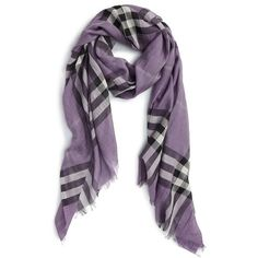 Burberry Giant Check Print Wool & Silk Scarf ($395) ❤ liked on Polyvore featuring accessories, scarves, lilac, woolen shawl, woolen scarves, silk scarves, silk shawl and print scarves