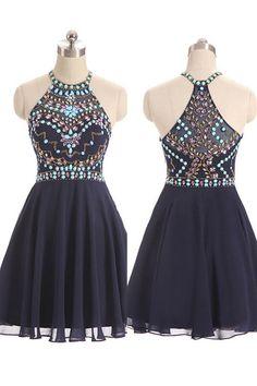 Fashion Navy Blue Chiffon Rhinestone Short Prom Dress Homecoming Dresses Party Gowns LD316