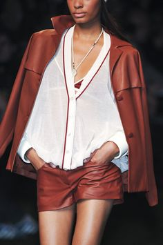 Hermès Brown leather shorts - I would love to rock a pair of leather shorts this color.