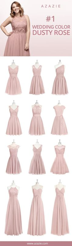 Azazie Dusty Rose Swatch (in 6 fabrics) Pink, dusty rose, chiffon, mesh, lace, tulle, satin Bridesmaid dress, Wedding, Wedding gown
