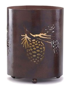 """Pinecone Pillar Holder from Park Designs casts a flicker of candlelight to light your way and ease your day. 7"""" H x 5 ¼"""" Dia  Glass insert included 25oo Though candle lit is best to show off the design it also nakes a nice Holder for _  pen & pencil  / Qtips & cottonballs / coffee & drink stirers"""