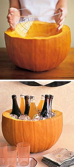 Get a bowl/container from the Dollar store, put inside the object (i.e. pumpkin, watermellon) you want to use, add ice then add drinks! Cute for any gathering/party. Love this idea