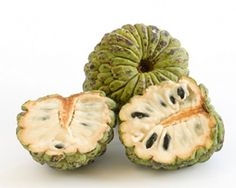 """Cherimoya:  Mark Twain once referred to the cherimoya as """"the most delicious fruit known to men."""" Although its flavor is often likened to that of a cross between a banana and a pineapple, the flesh of this exotic fruit has also been described as similar to commercial bubblegum. Although they are native to the Andes, cherimoyas also thrive in Mediterranean climates, and have been introduced in Spain, Italy and California, among other places."""