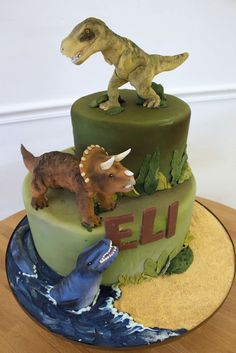Dinosaur Cake for Eli by Oakleaf Cakes Dinosaur Birthday Cakes, Dinosaur Party, 4th Birthday Parties, Birthday Fun, Cake Birthday, Birthday Ideas, Bolo T Rex, Dino Cake, Party Cakes