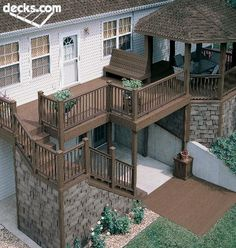 Deck with gazebo Deck Design, House Design, Gazebo, Deck Pictures, Deck Stairs, Diy Deck, Decks And Porches, Building A Deck, Backyard Patio
