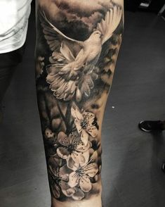 143 Likes 3 Comments Dragos dragos calmuc on Dove Tattoo Design, Angel Tattoo Designs, Tattoo Sleeve Designs, Sleeve Tattoos, Angel Sleeve Tattoo, Dove Tattoos, Forarm Tattoos, Body Art Tattoos, Celtic Tattoos