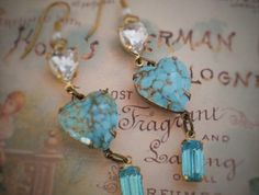 Turquoise glass heart cabochons
