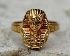 Estate 14k Yellow Gold Diamond Egyptian King Ring-Size 7-585-Tut-585 IV-Mummy #IV #Band