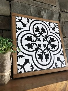 Black and White Tile Pattern | Moroccan Tile | Fixer Upper | Magnolia Market | Joanna Gaines Inspired | Framed Wood Sign by BunkhouseandBroadway