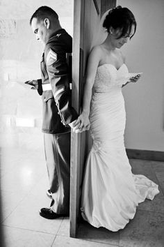 """Wedding Pics Alternative to those who want a few moments alone but don't want to do A """"First Look"""" ceremony. Love the idea of writing a letter to each other to read before the wedding.and getting this shot :) - Wedding Goals, Wedding Pics, Wedding Decor, Our Wedding, Dream Wedding, Military Wedding Pictures, Wedding Images, Trendy Wedding, Wedding Stuff"""