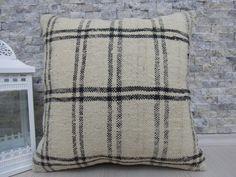 Organic Kilim Lumbar Kilim Pillow 18 x 18 by ZDkilimspillow