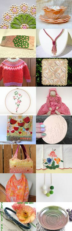 Pink and Peach on Sale for Christmas in July by Karen Anderson on Etsy--Pinned with TreasuryPin.com