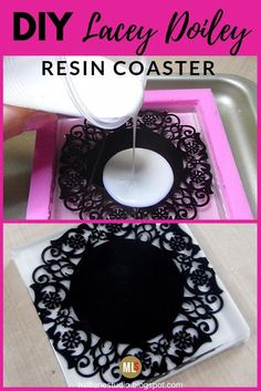 Black and white is so chic and never really goes out of fashion especially when it's a black lace doiley embedded in a resin coaster. This DIY resin coaster is feminine without being too girly and will add a touch of elegance to your desk. Diy Resin Projects, Diy Resin Art, Diy Resin Crafts, Crafts To Make, Diy Resin Coasters, Coaster Crafts, How To Make Coasters, Black Coasters, Agate Coasters