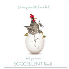 Shop Excellent Friend Greeting Card from Sarah Boddy. Fun chicken card for an eggcellent friend! Made in England and sent with love from our home to yours. Chicken Signs, Chicken Humor, Chicken Art, Chicken Painting, Chicken Drawing, Doodle Doo, Chickens And Roosters, Watercolor Texture, Printed Bags